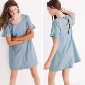 Madewell Chambray Blue Tie-Back Bow Dress